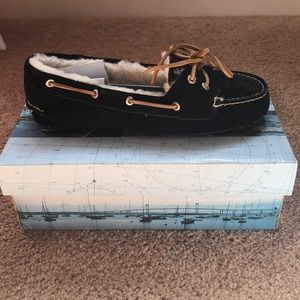 Sperry Rift Black Suede with Shearl